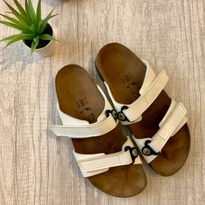 Birkis White Two Strap Sandals